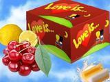 Жевательная резинка love IS (лав из) вишня+ лимон, бу